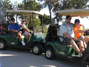 """A Local 63 team competes in the annual ILWU """"Safety First"""" Golf Tournament: (L-R) Local 63 VP Mike Ponce, Local 63 Dispatcher Steve Pekich, and Local 63 members Pete Cucuk and Michael Clapp"""
