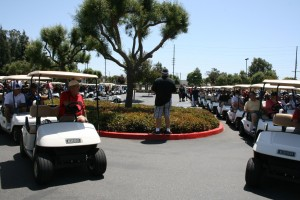 "Golf carts line up for the annual ""Safety First"" Steve Saggiani Memorial Golf Tournament  sponsored by ILWU Locals 63, 13, and 94"