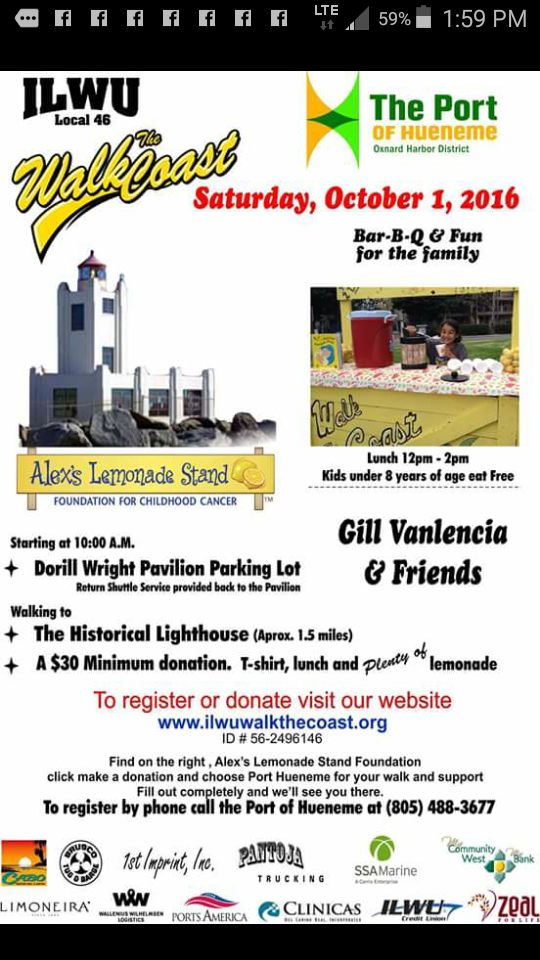 October 1 2016 Port Hueneme ILWU Walk the Coast event